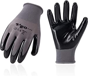 Vgo... 20Pairs Nitrile Coating Gardening and Work Gloves (Size L,Grey,NT2110)