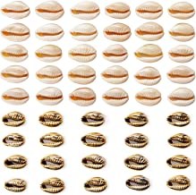 AIEX 50pcs Shell Beads Includes 30 Cowrie Shells and 20 Golden Electroplated Cowrie Shell Beads for Jewelry Craft Making Home Party Decor