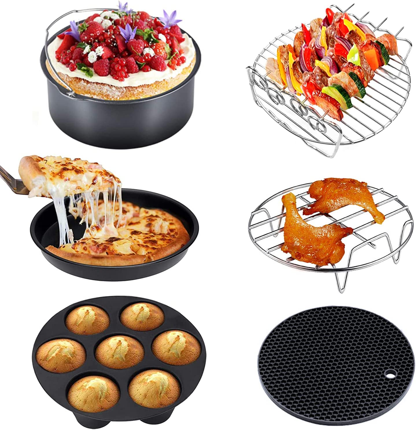 Air Fryer Accessories, OGREEM 8 inch Air Fryer Accessory, set of 6, Fit all 5.2QT-6.8QT Air Fryer, BPA Free, Non-stick, Easy to Clean, Dishwasher Safe.
