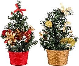 TOYANDONA 2pcs Mini Flocked Christmas Trees Small Christmas Tree with Snow Berry Artificial Tabletop Christmas Tree Realis...