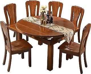 MKMKT Table à Manger, Ensemble Table et chaises en Noyer, Ensemble 7 pièces, Table à Manger rétractable, Meubles de Cuisin...
