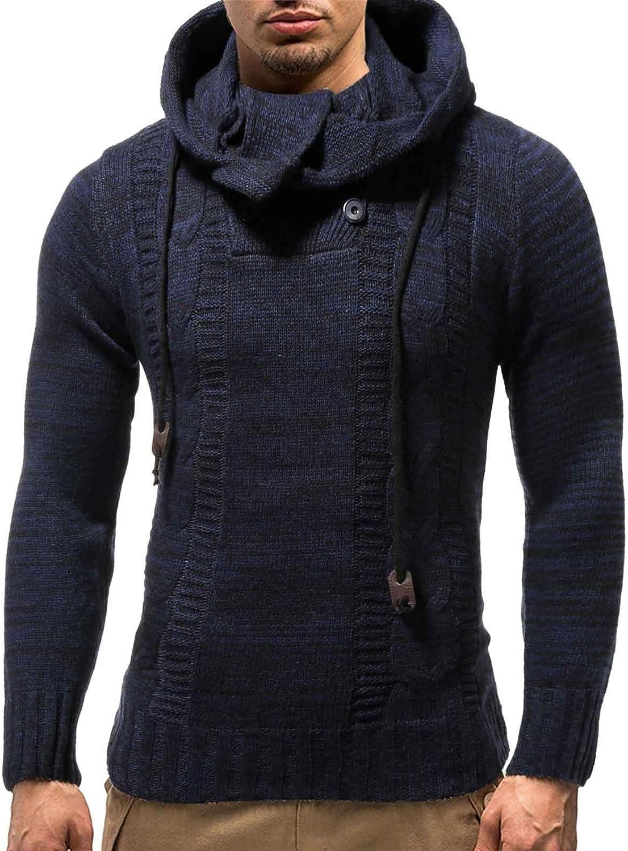 ZSBAYU Men's Stylish Hoodie Sweaters Casual Long Sleeve Knitting Turtleneck Pullover Sweaters Sweatershirt