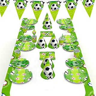 decalmile 146 Piezas Vajilla Diseño de El fútbol para 16 Niño Decoración de Fiesta de Cumpleaños (Platos, Tenedores Cucharas Cuchillos, Vasos, Pajitas, Servilletas, Gorros, Bandera, Mantel)