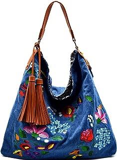 Handbag Republic X-Large Floral Embroidered Carry-all Hobo (Denim)