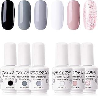 Gellen Gel Nail Polish 6 Colors Set - Decent Luxury Set Series, Elegant Nail Art Colors Black White Pastel Grays Nude Glit...