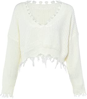 ZAFUL Women's Loose Long Sleeve V-Neck Ripped Pullover Knitted Crop Top Sweater