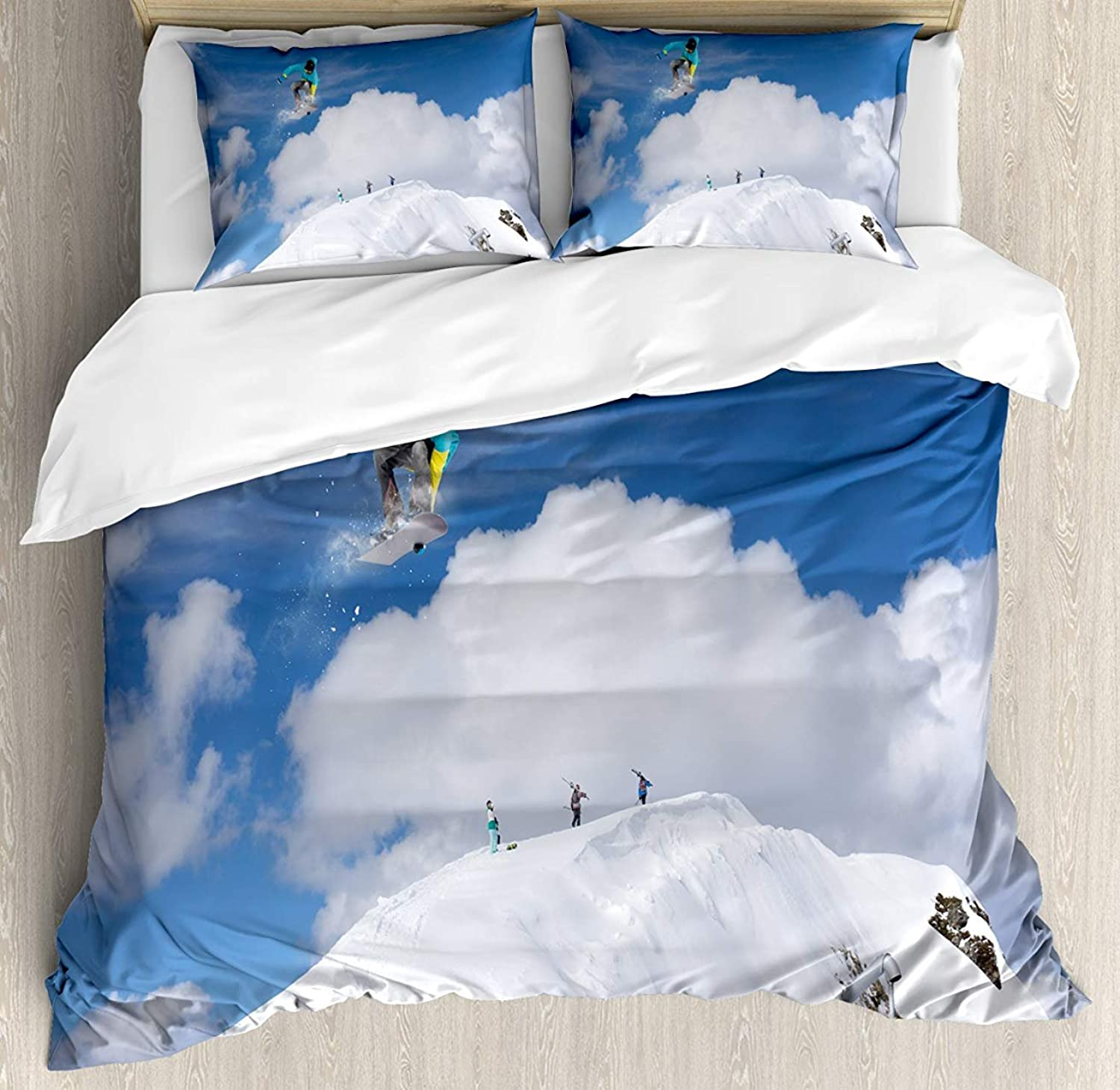 Winter Bet Set 4pcs Bedding Sets Duvet Cover Flat Sheet with Decorative Pillow Cases King Size for Kids Adults TeensFlying Snowboarder on The Mountaintop with Cloudy Sky Extreme Sports Theme Photo