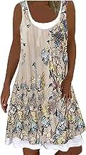 Zomerjurk voor dames, zomermode, casual, Comfoy ronde hals, print, mouwloos, splitsjurk, knielange jurk