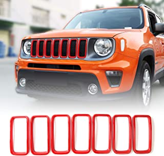 JeCar Grille Inserts ABS Grill Cover Trim Kit Exterior Accessories for 2019 2020 Jeep Renegade BU, Red