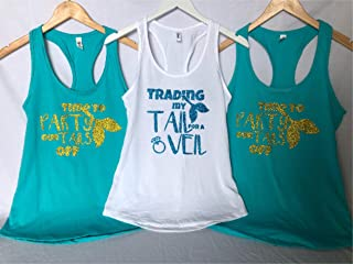 Trading my Tail for a veil Bride tank top - Time to Party our tails off - Bridal party shirts - bachelorette party tanks, crew neck, v neck