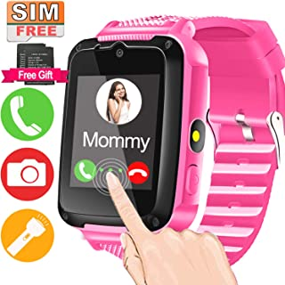 Kids Smart Watch Phone with Free SIM Card & 2Batteries for 3-12 Years Toddler Girls Boys with 1.44'' HD Touch Screen 2 Way Call Camera SOS Clock Game Flashlight Electronic Learning Toy for Classroom