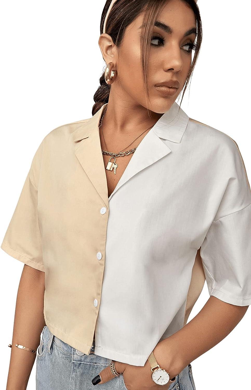 SheIn Women's Short Sleeve Collar Drop Shoulder Crop Top Graphic Button Up Blouse