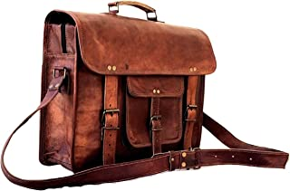 Sponsored Ad - Leather Messenger Bag for Men Vintage Laptop Briefcase Satchel Best Computer Bag Brown