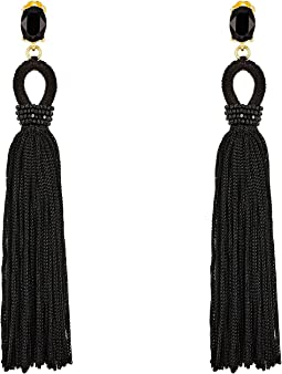 Oscar de la Renta Long Silk Tassel C Earrings