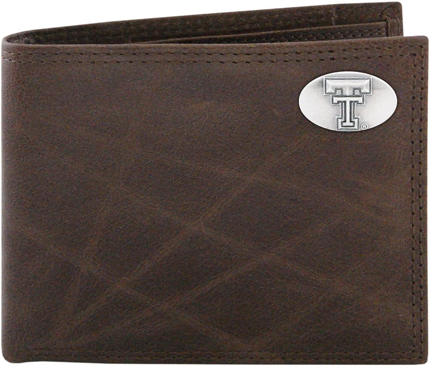 NCAA Texas Tech Red Raiders ZepPro Wrinkle Leather Bifold Concho Wallet (Brown)