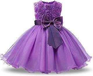 NNJXD Vestido de fiesta de princesa con tutú de encaje en 3D para dama de honor