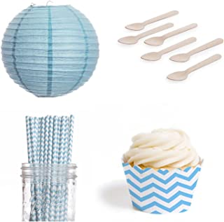 Dress My Cupcake DMC432453 Dessert Table Party Kit with Lanterns and Standard Wrappers, Sky Blue Chevron