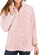 Womens Fleece Sherpa 1/4 Zip Pullover Sweatshirts Fuzzy Jackets Coats Long Sleeve Tutleneck Fall Winter Tops
