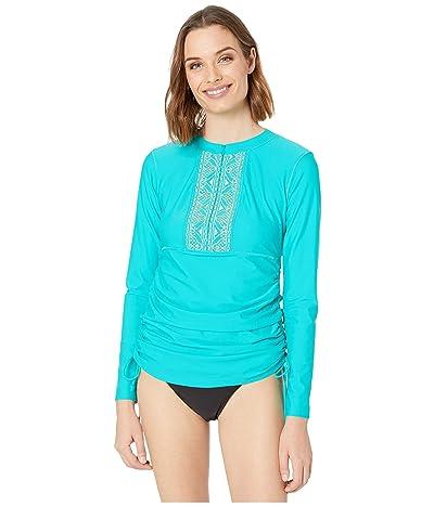 Cabana Life Essentials Embroidered Rashguard (Turquoise) Women