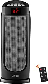 VIPEX VX-EE001 1500W Electric Portable Small Space Heaters for Office Home Room Indoor Use, Adjustable Temperature with Remote Control, Built-in Timer and Oscillation Setting, Insect, Black