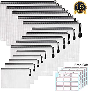 A4 Document Holder with Zipper, WEST BAY 15 PACK Mesh Folder Document File Pouch Multipurpose Organizer Folder Clear Mesh Weatherproof Protection Storage Sticky Notes for School Supplie Business Paper