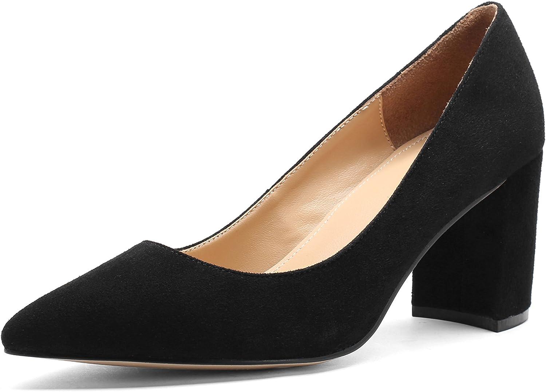 MANRINO Queen 3 Inch Soft Kid Suede Ladies Square Block High Heel Girls Pump Dress shoes Womens
