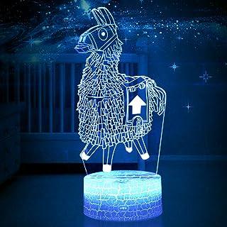 New Toys - Lámpara 3D de alpaca/llama de luz nocturna en 7 colores que cambian, base agrietada, para regalos de cumpleaños, juguetes, luces de noche para niños