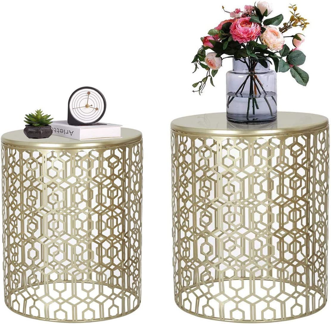 Adeco Reservation Decorative End Round Nesting 100% quality warranty Coffee Nig Tables Side Accent