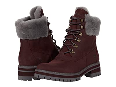 Timberland 6 Courmayeur Valley Shearling Waterproof Boot (Burgundy Nubuck) Women