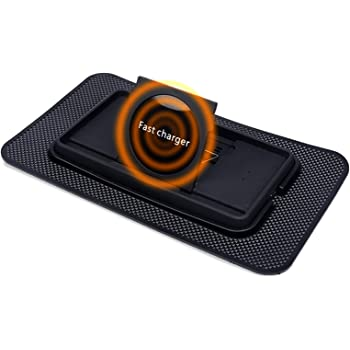 Fast Wireless Car Qi Charger, JCWINY 10W Wireless Charging Pad Phone Holder, Non Slip Dashboard Wireless Charging Mat for iPhone and Samsung and All Other Qi Enabled Devices