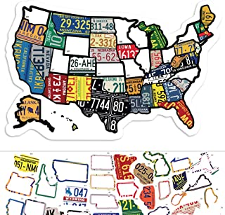 "RV State Sticker Travel Map - 11"" x 17"" - USA States Visited Decal - United States License Plate Non Magnet Road Trip Wind..."