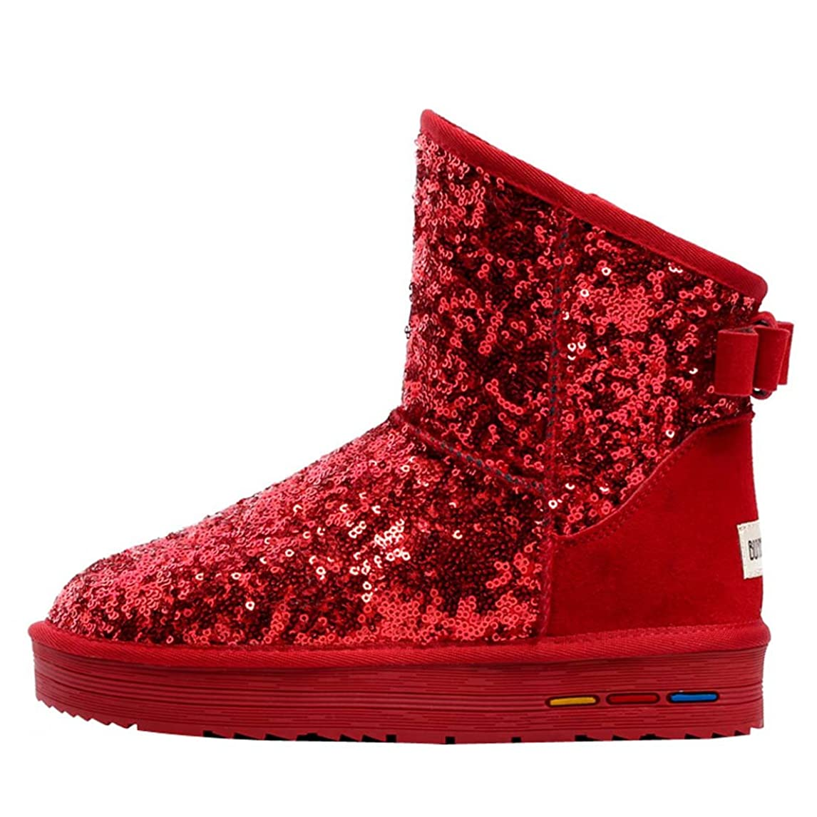 儀式東ティモール血[ウェンセン] 女性は ヌバック スパンコール スノーブーツ 暖かい ブーツ 雪用ブーツ