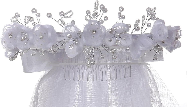 White 2T First Communion Wedding Flower Girls Pearls Beads Veil