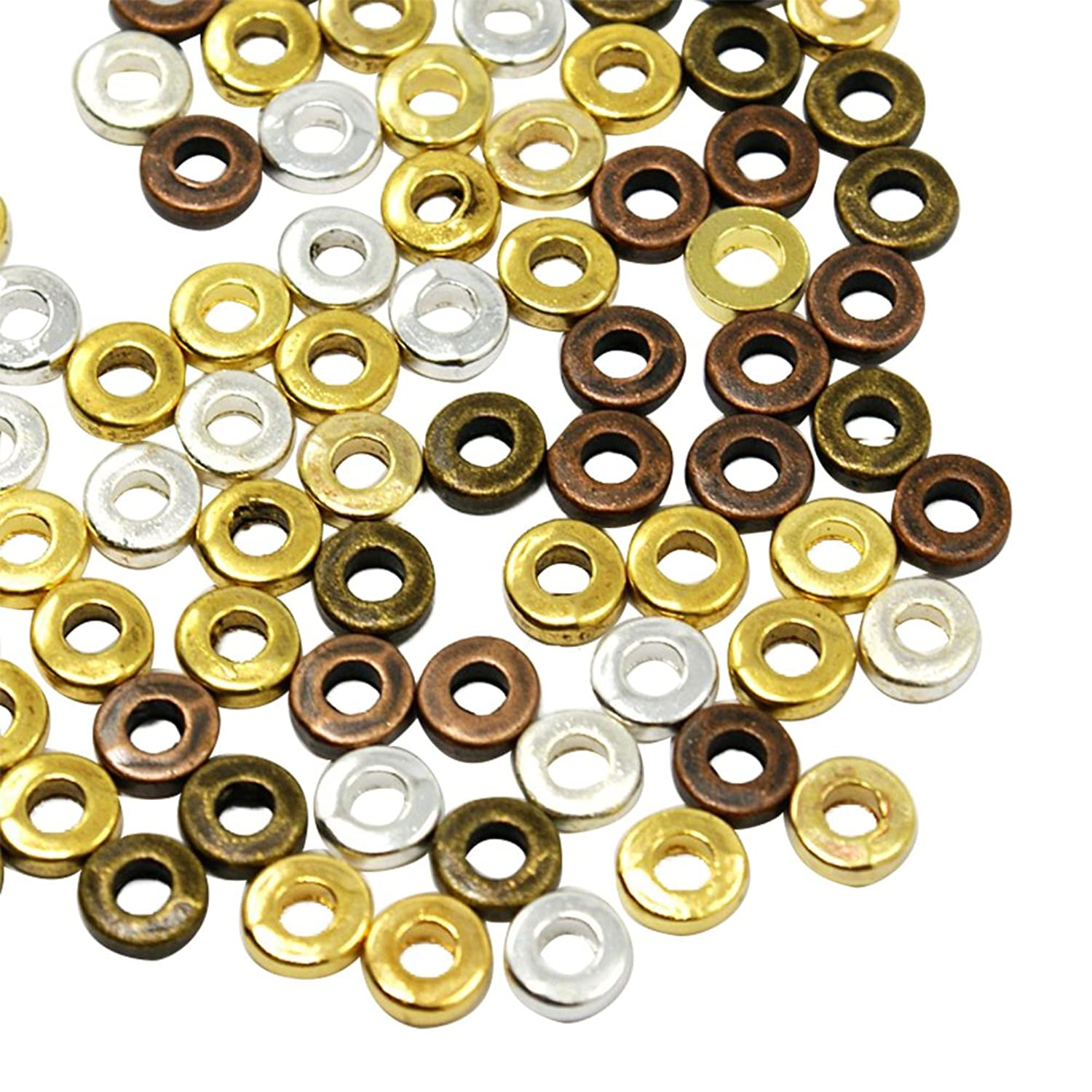NBEADS 200g Tibetan Style Beads Donut Bead Spacers, Cadmium Free & Lead Free, Mixed Color, 6x6x2mm, Hole: 3mm; About 788pcs/200g