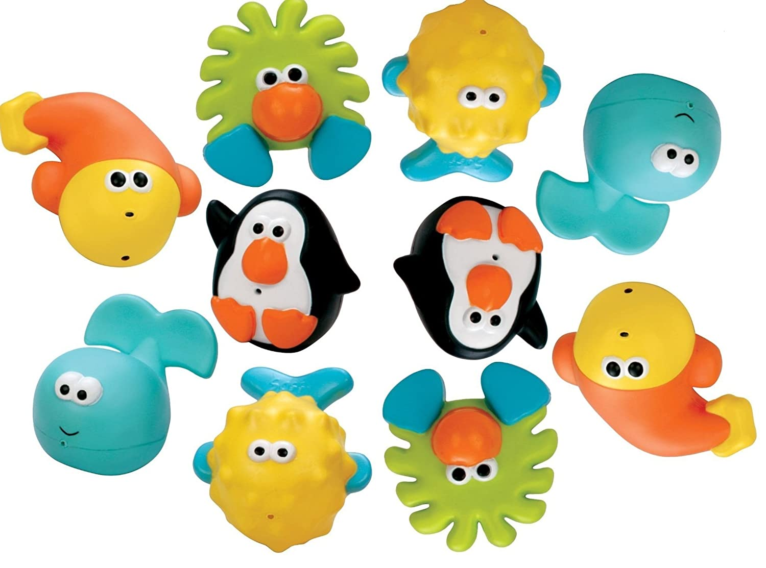 Sassy Bathtime Pals Squirt and Float Toys, 5 Piece Set by Sassy