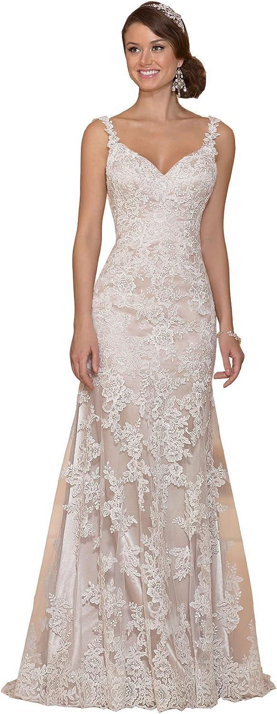 Irenwedding Women's Straps Applique Lace Open Back Zipper Fishtail Wedding Dress