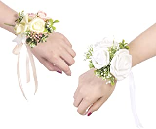 Ling's moment Wrist Corsages Bracelet White Corsage Bridesmaid Hand Flower for Wedding Festival Beach Party Prom (Set of 6)