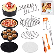 Air Fryer Accessories, Genround 13 Pcs Air Fryer with Cookbook Cake Tin Pizza Tray Rack, French Fries/Baking/Cooking Utensil Sets - 8in XL for Universal 5.3L to 7.9L Air Fryers Phillips Cozyna & Oven