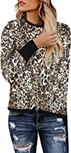 Casual Cute Shirts for Women,MOHOLL Comfy Long Sleeve Leopard Print Tops Side Twist Knotted Blouse Tunic T Shirts