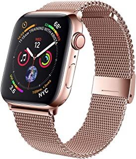 jwacct Compatible for Apple Watch Band 38mm 40mm 42mm 44mm, Adjustable Stainless Steel Mesh Wristband Sport Loop for iWatc...