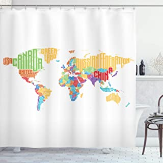 Ambesonne Teen Room Decor Collection, Multicolored High School Classroom World Map with Names of Countries Print, Polyester Fabric Bathroom Shower Curtain Set, 75 Inches Long, Red Orange Blue