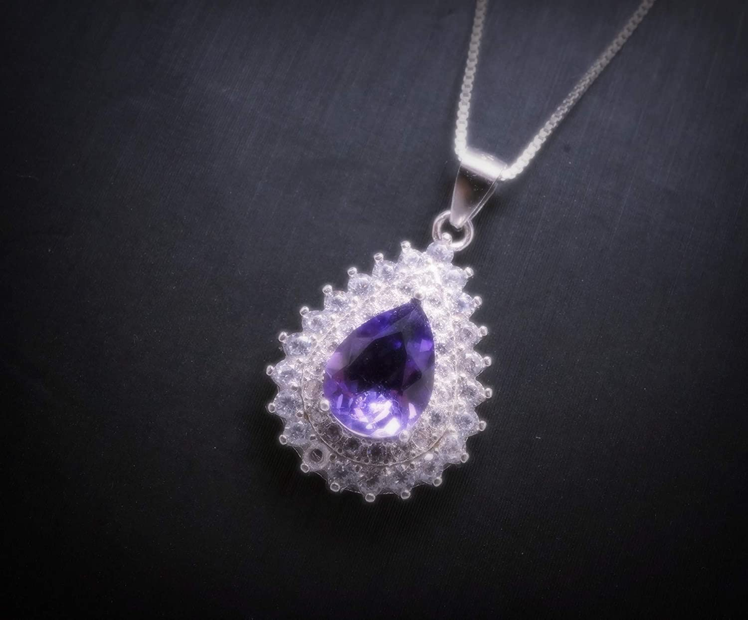 Dainty Amethyst Necklace Sterling Natural Popularity Teardrop Amethy Silver Beauty products