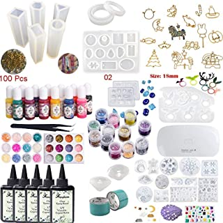 5x100ML Crystal Epoxy Resin with 25 Resin Mold, 36Pcs Decoration,1 Mini UV Led Lamp Tweezer,13 Color Liquid Pigment,17 Open Bezel Metal with Tape for Jewelry Earrings Necklace Bracelet Making