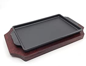 The Elixir Retangle Cast Iron Steak Platter Sizzling Plate Griddle with Wooden Base Steak Pan Grill Fajita Server Plate