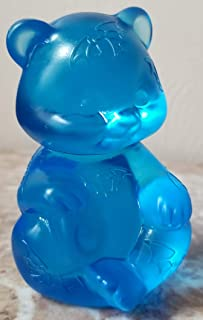 Fenton Solid Glass Sitting Bear Sand Carved Halloween - Ocean Blue - Rosso OOAK USA