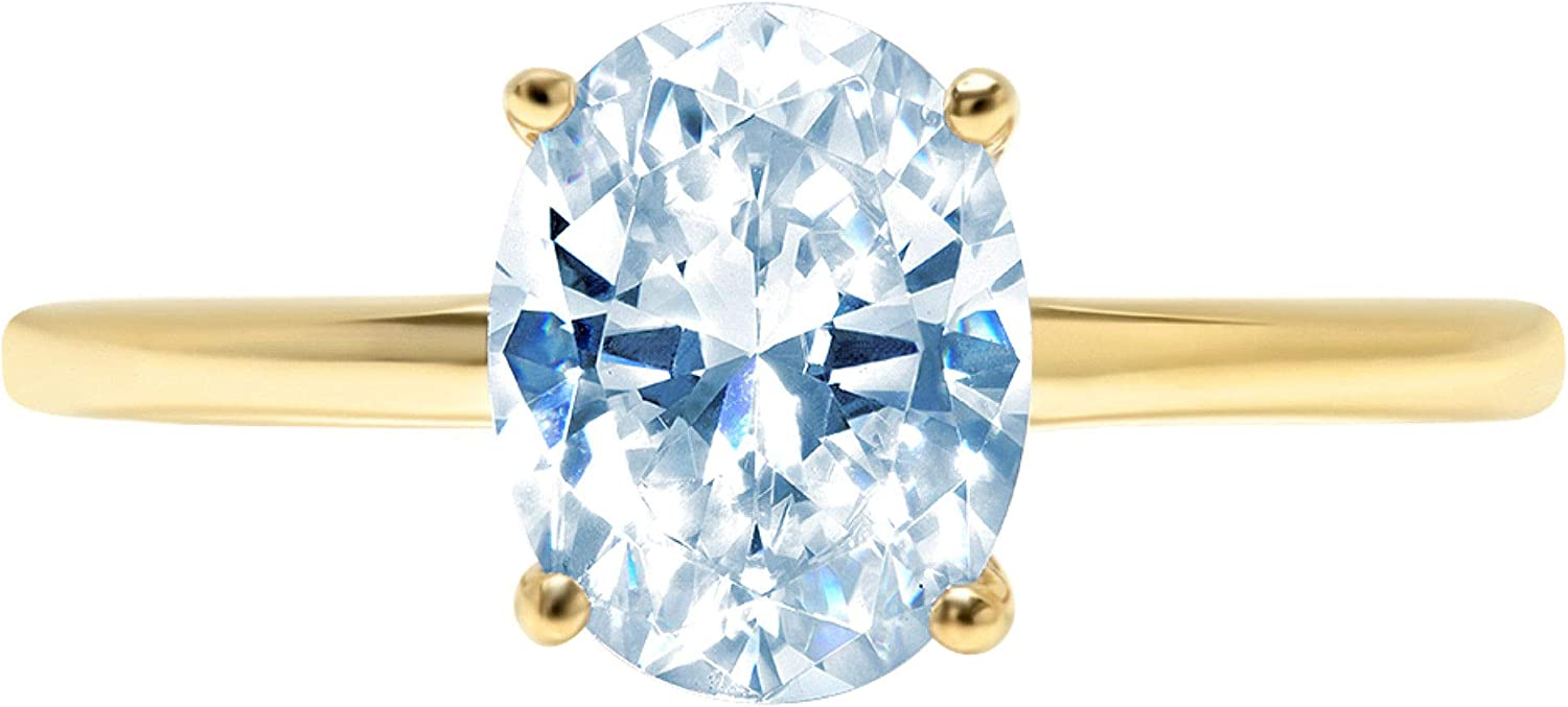 2.4ct Brilliant Oval Cut Solitaire Natural Sky Blue Topaz Ideal VVS1 4-Prong Engagement Wedding Bridal Promise Anniversary Ring Solid 14k Yellow Gold for Women