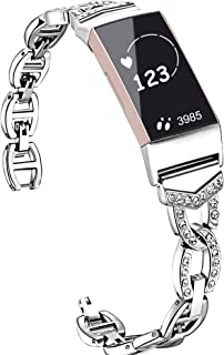 Compatible with Fitbit Charge 3 Bands, Premium Wristband Metal Bracelet Bands Fitbit Charge 3 Silver Women Luxury,Watch Replacement Accessories Strap Bands Fitbit Charge 3 SE Smartwatch (Silver)