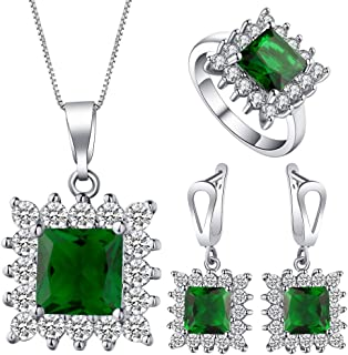 VPbao Necklace Earrings Ring Jewellery Set Square Cubic Zirconia Sets Green
