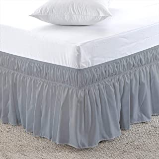 RRlinen Light Grey Wrap Around Bed Skirt Three Sided Fabric Silky Soft & Wrinkle Free Classic Stylish Look in Your Bedroom Olympic Queen-15 inch Drop