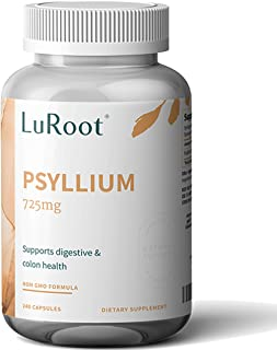 Psyllium Husk Seed Powder Capsules, 240 Capsules - 725 mg per Serving, Made with Organic Non-GMO & Gluten Free psyllium Husk - Soluble Fiber Supplement by LuRoot (Pack 1)